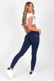 Dark Blue Low Waist Denim Yellow Stitch