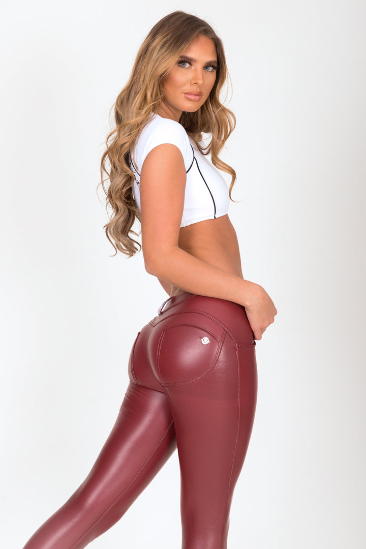 Wine Faux Leather Low Waist