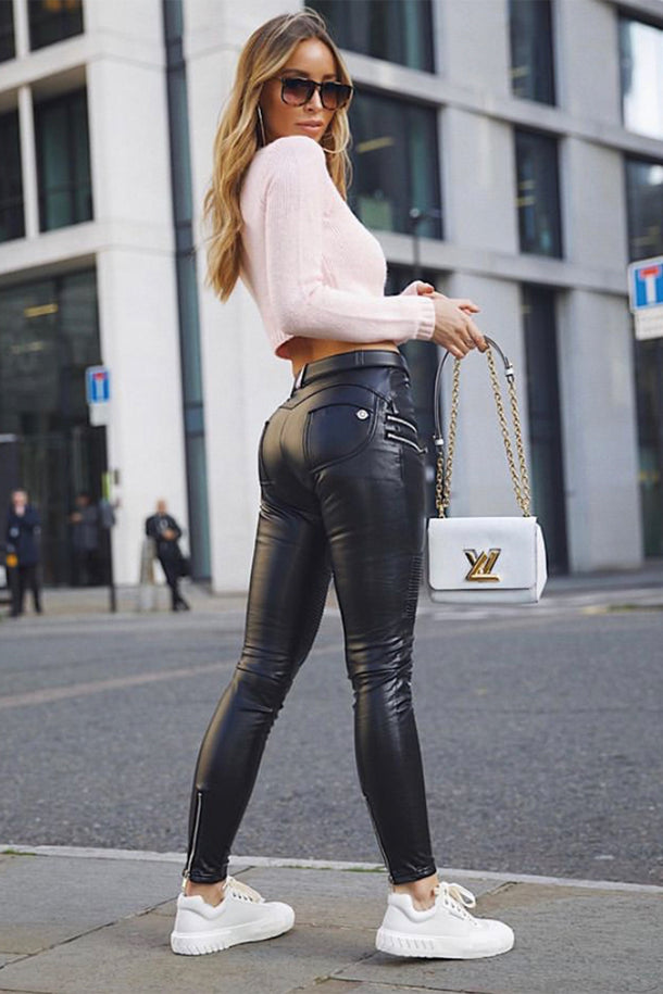 Black Faux Leather Biker Pants Mid Waist