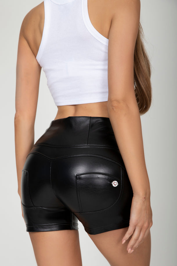 Black Faux Leather High Waist Short