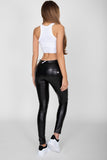 Black Faux Leather Mid Waist