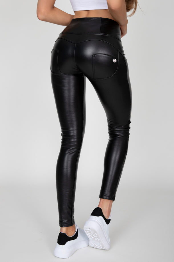 Black Faux Leather High Waist