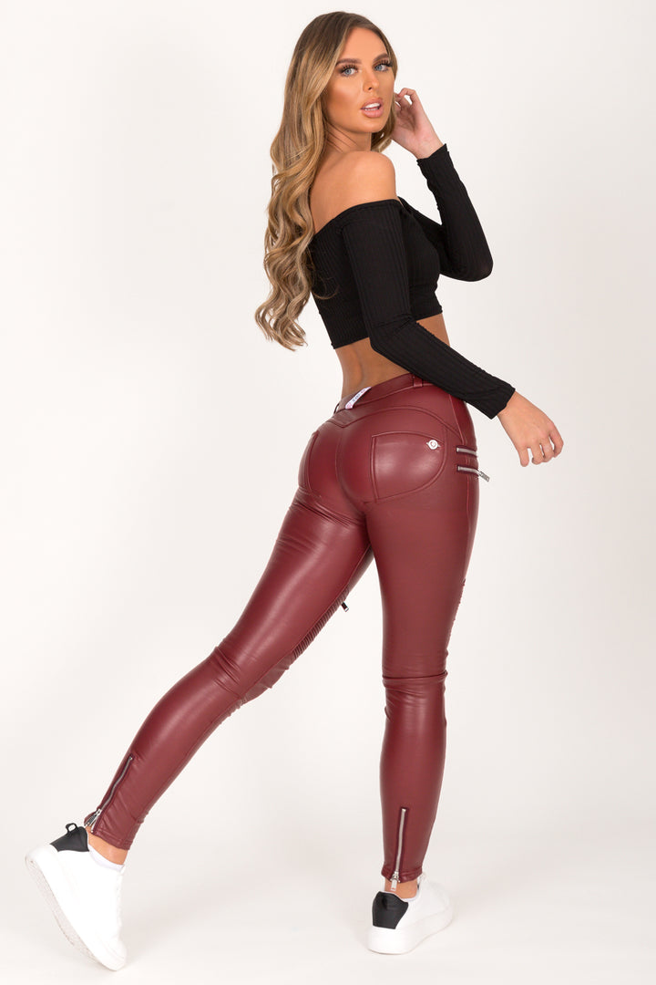 Wine Faux Leather Biker Pant Mid Waist