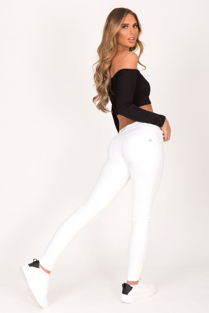 White Faux Leather Mid Waist