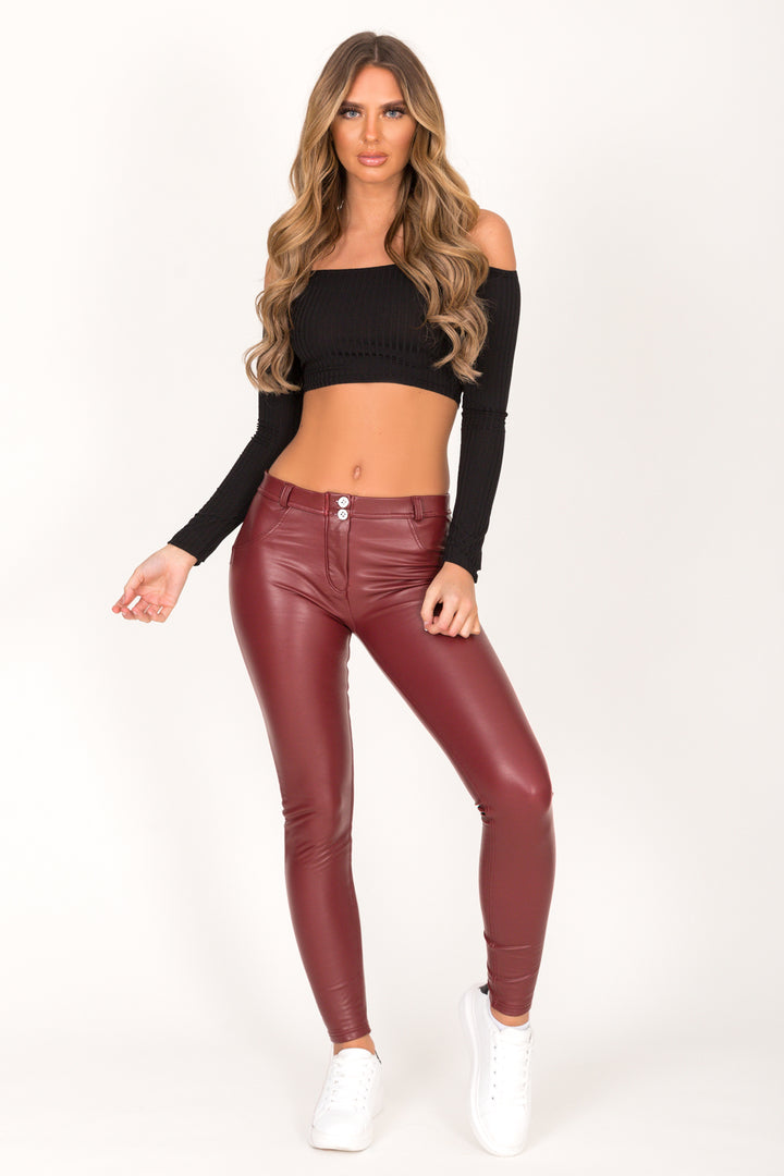 Wine Faux Leather Mid Waist