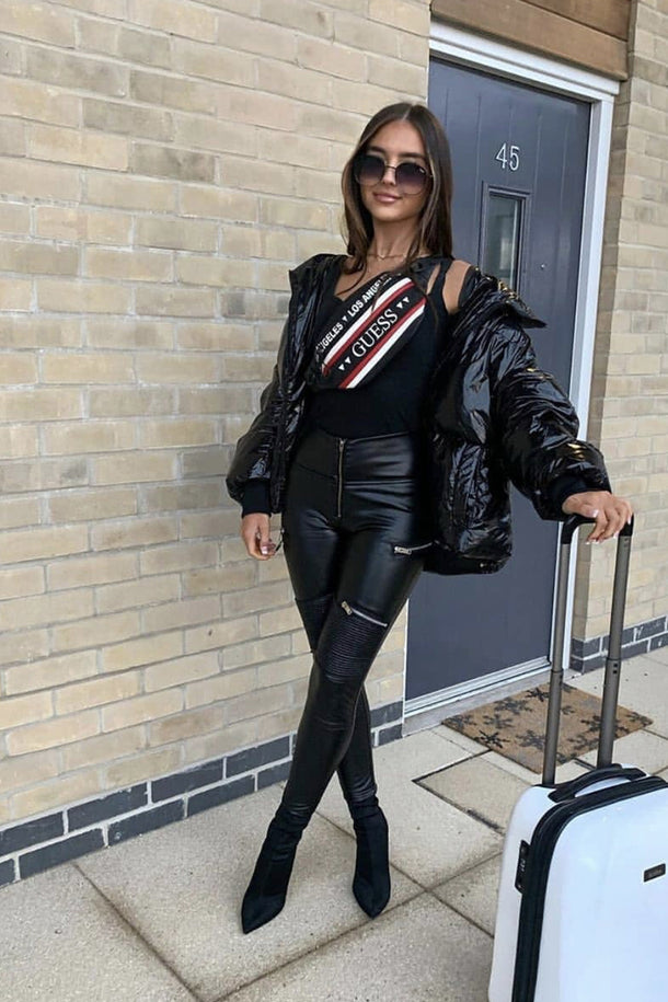 Black Faux Leather Biker Pants High Waist