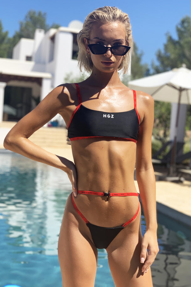 Ibiza Sport Bikini in Black/Red