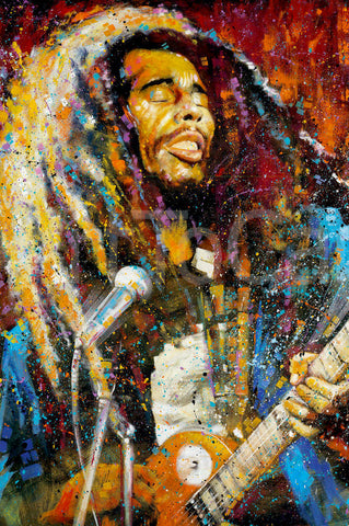 Poster-Bob Marley Paint Splash