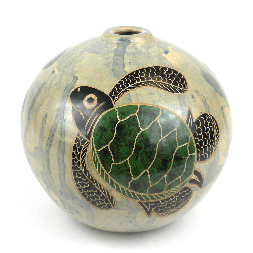 4 inch Round Vase - Turtle Handmade and Fair Trade
