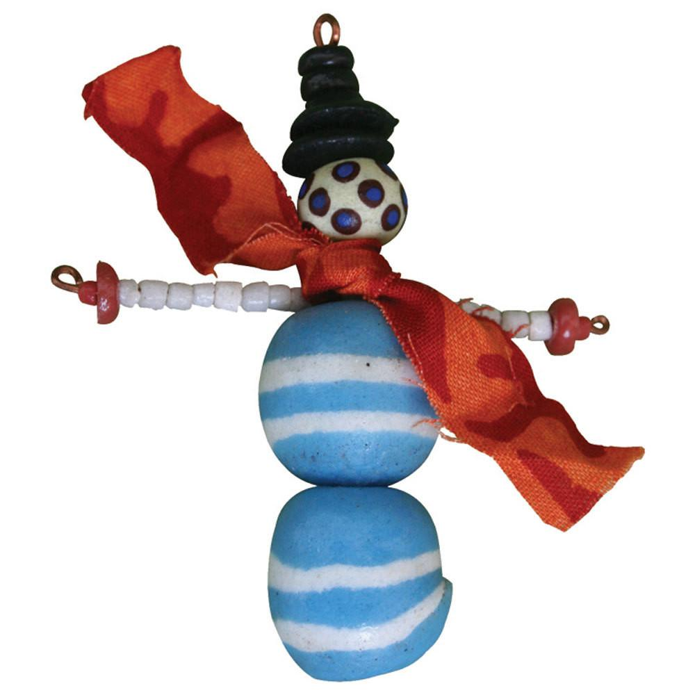 Recycled Glass Bead Snowman Ornament - Global Mamas (H)