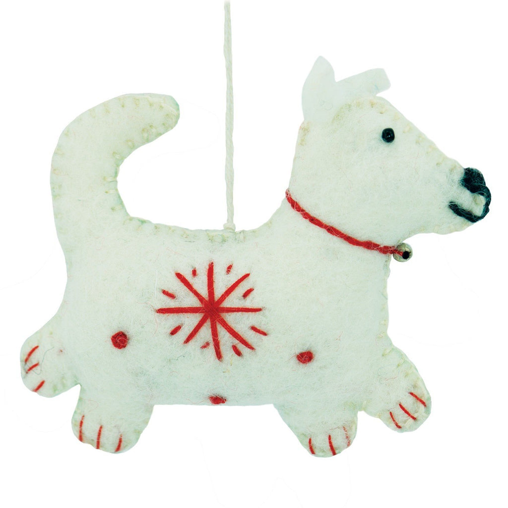 White Felt Dog Holiday Ornament - Wild Woolies (H)