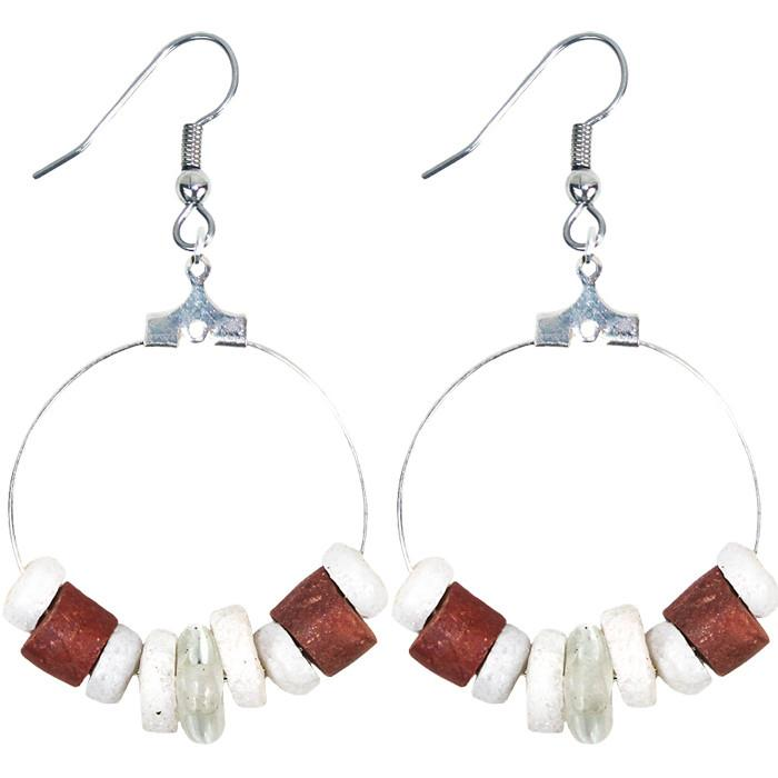 Down to Earth Earrings White - Global Mamas