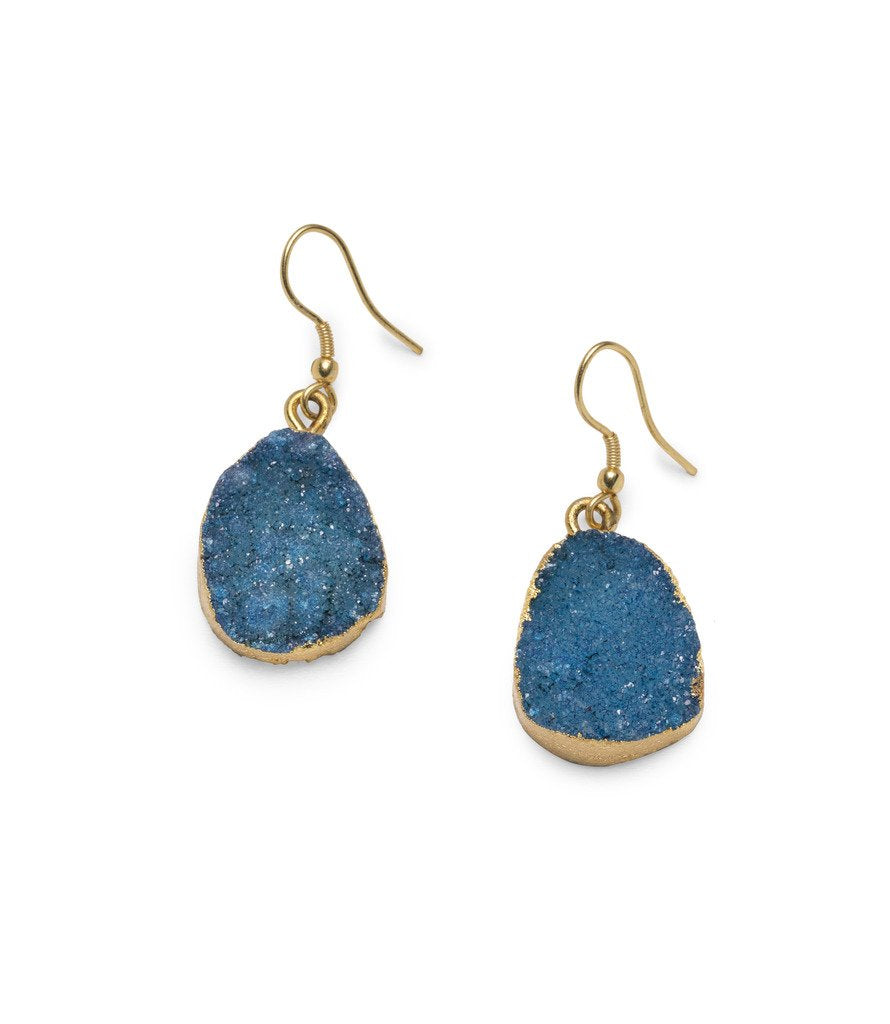 Rishima Druzy Drop Earrings - Light Blue - Matr Boomie (Jewelry)
