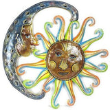 24-Inch Painted Blue Moon and Sun Metal Wall Art