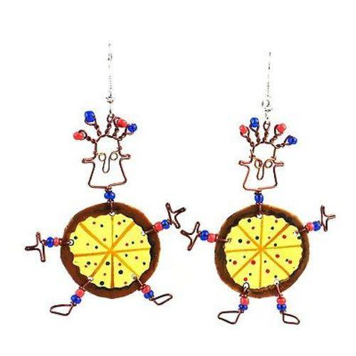 Dancing Girl Pizza Earrings Handmade and Fair Trade