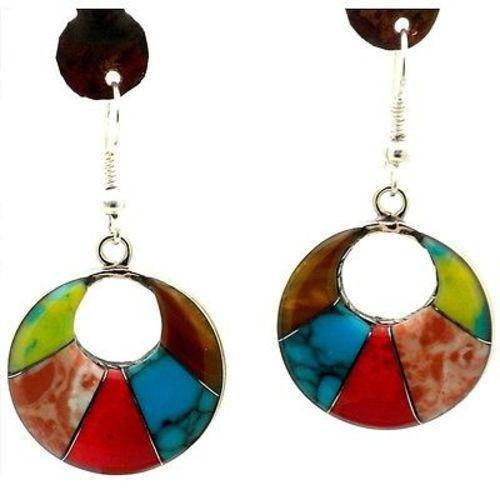 Inlaid Stone 'Arcada' Drop Earrings Handmade and Fair Trade