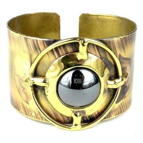 Shine On Hematite Brass Cuff Handmade and Fair Trade
