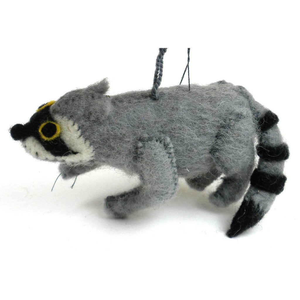 Felt Raccoon Ornament - Silk Road Bazaar (O)