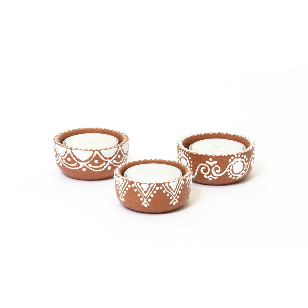 Set of Three Earthenware Tea Light Holders - Matr Boomie (Candle)
