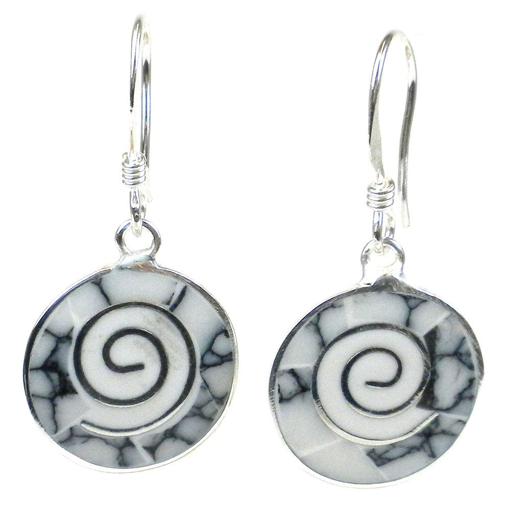 Howlite Spiral Earrings - Artisana