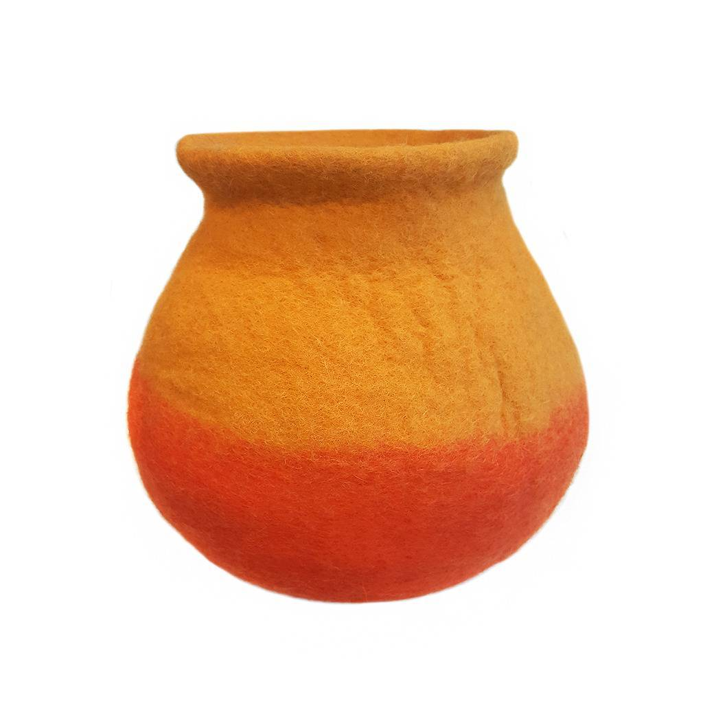 Orange Felt Flower Vase - Hamro Village