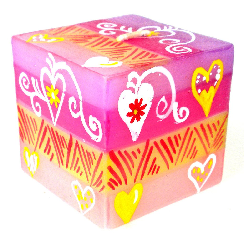 Hand Painted Candle - Cube - Ashiki Design - Nobunto