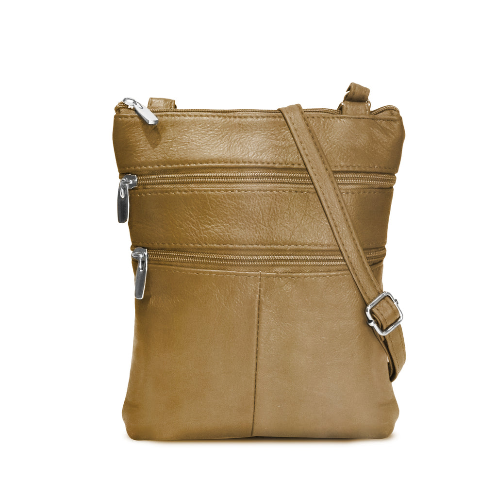 Flat Two Sided Leather Cross Body Bag