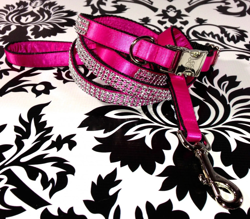 Pink Satin Bling Collar and Leash Set