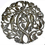 Tree of Life with Parrots 24-inch Metal Art Handmade and Fair Trade