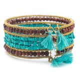 Shanthi Cuff - Turquoise and Wood - Bracelet - Matr Boomie (Jewelry)