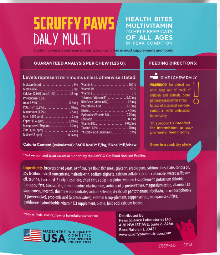 Scruffy Paws Daily Multi Health Bites (30 Chews)
