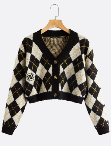 Geometric Cropped Cardigan