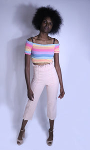 Hand-Dyed Pleated Crop Pants