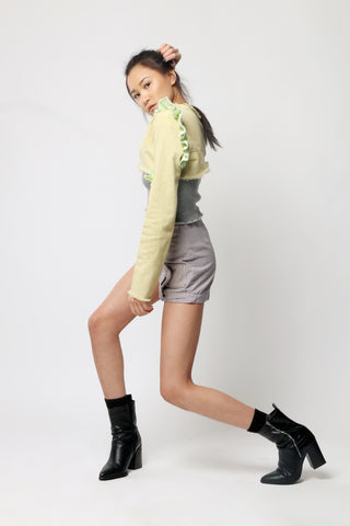 Chartreuse Cropped & Ruffled Top