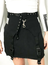 Load image into Gallery viewer, Black Buckle and Snap Jean Skirt