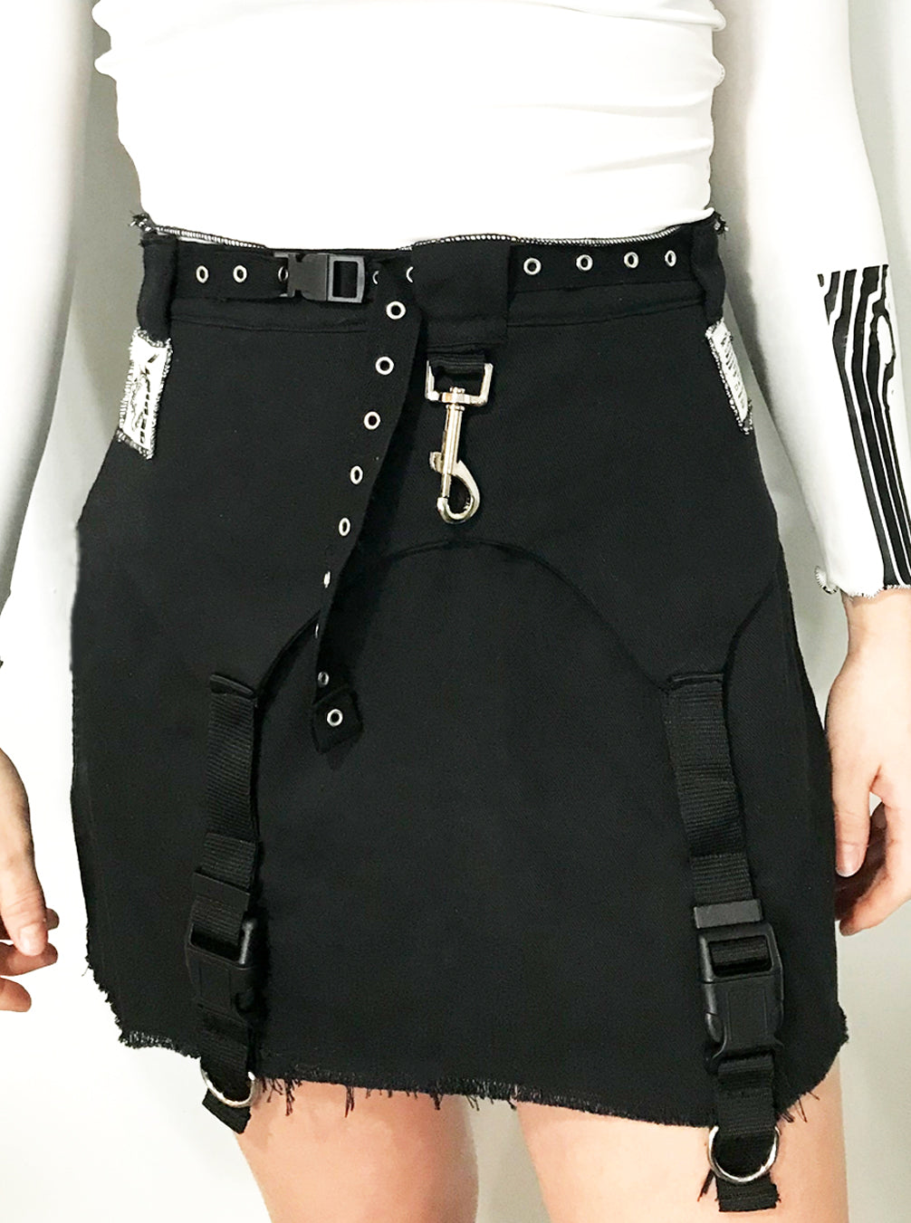 Black Buckle and Snap Jean Skirt