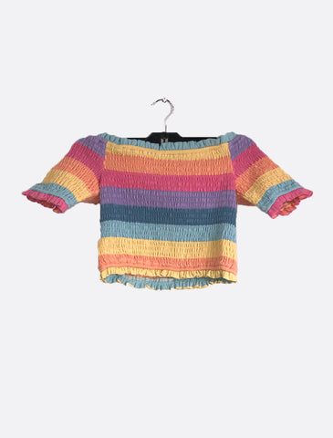 Rainbow Ruffled Crop