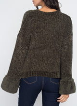 Load image into Gallery viewer, Green Knit Faux Fur Cozy Sweater