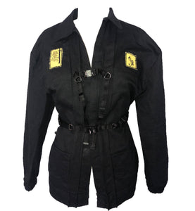 Black Denim Buckle Jacket