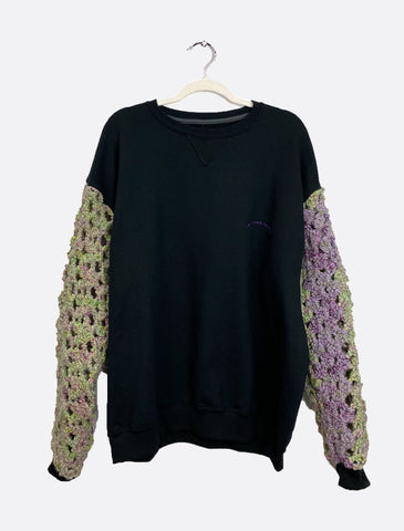 Black Crewneck with Hand-Knitted Sleeves