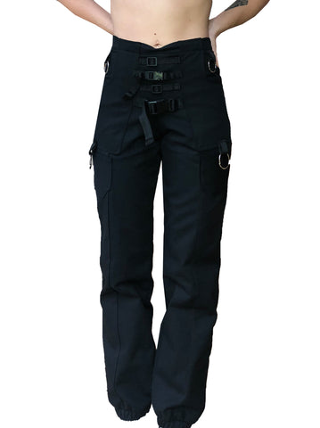 Fitted Black Denim Buckle Jean