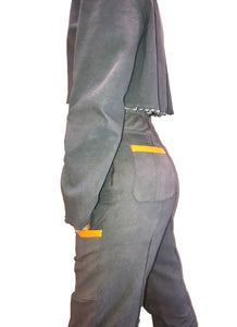 Gray and Orange Fitted Pant