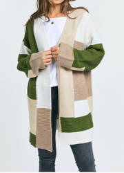 Multi-Color Block Knit Cardigan