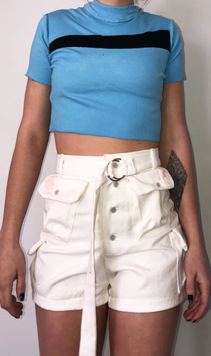 White Denim Cargo Short