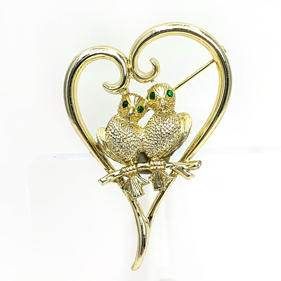 Judy Lee Brooch Love Birds Green Eyes Gold Pin