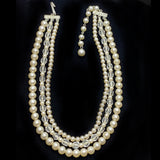 Vintage Japan Bib Necklace Glass Pearl Crystal Beads 3 Strand