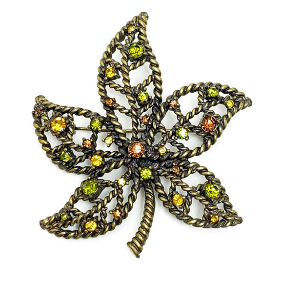 Avon Brooch Nina Ricci Rhinestone Accent Leaf Bronze Green Yellow