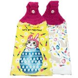 Easter Egg-cited Hanging Kitchen Towels Set Crochet Top Bunny Cat