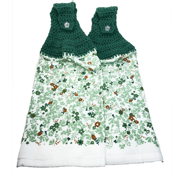 St Patrick's Day Hanging Kitchen Towels Set Crochet Top Irish Clover Field