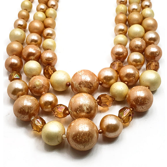 Vintage Japan Bib Necklace Soft Apricot Crystals Cream Pearls Chunky Beads 3 Strand